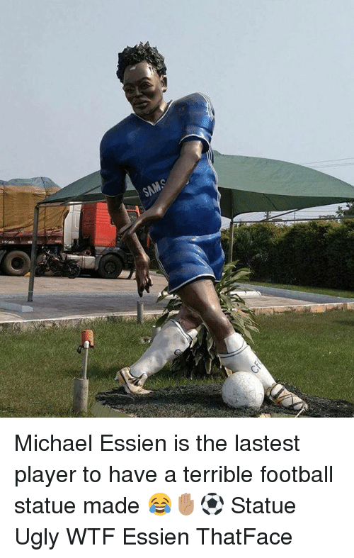 essien: Michael Essien is the lastest player to have a terrible football statue made 😂✋🏽⚽️ Statue Ugly WTF Essien ThatFace