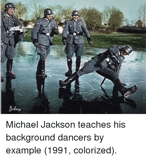 Dancers: Michael Jackson teaches his background dancers by example (1991, colorized).