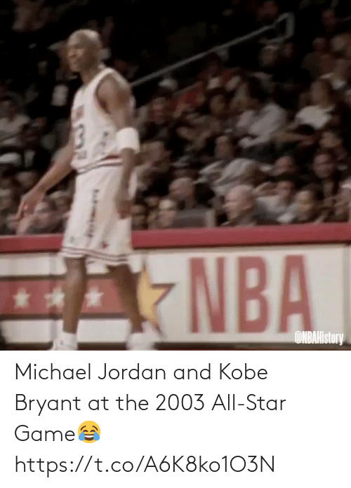 Kobe: Michael Jordan and Kobe Bryant at the 2003 All-Star Game😂 https://t.co/A6K8ko1O3N