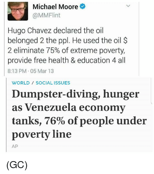 Dumpstered: Michael Moore  (a MMFlint  Hugo Chavez declared the oil  belonged 2 the ppl. He used the oil  2 eliminate 75% of extreme poverty,  provide free health & education 4all  8:13 PM 05 Mar 13  WORLD SOCIAL ISSUES  Dumpster-diving, hunger  as Venezuela economy  tanks, 76% of people under  poverty line  AP (GC)