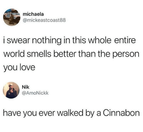 michaela: michaela  @mickeastcoast88  i swear nothing in this whole entire  world smells better than the person  you love  Nik  @AmoNickk  have you ever walked by a Cinnabon