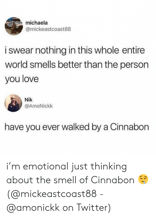 michaela: michaela  @mickeastcoast88  i swear nothing in this whole entire  world smells better than the person  you love  Nik  @AmoNickk  have you ever walked by a Cinnabon i'm emotional just thinking about the smell of Cinnabon 🤤 (@mickeastcoast88 - @amonickk on Twitter)