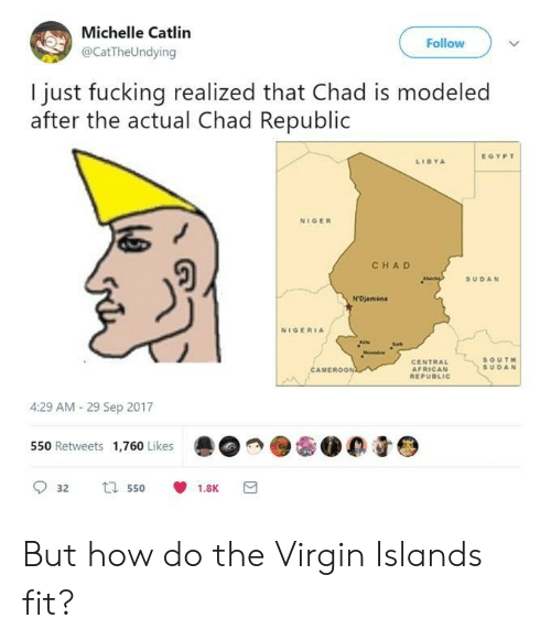 niger: Michelle Catlin  @CatTheUndying  Follow  I just fucking realized that Chad is modeled  after the actual Chad Republic  EGYPT  LIBYA  NIGER  CHA D  SUDAN  NIGERIA  CENTRAL  AFRICAN  SOUT  SUDAN  MEROON  4:29 AM- 29 Sep 2017  550 Retweets 1,760 Likes  0 0 But how do the Virgin Islands fit?
