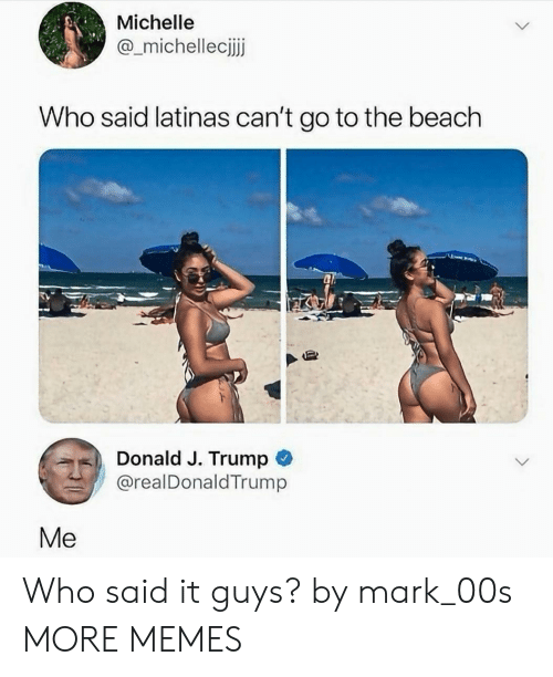 Dank, Memes, and Target: Michelle  @_michellecijj  Who said latinas can't go to the beach  Donald J. Trump C  @realDonaldTrump  Me Who said it guys? by mark_00s MORE MEMES