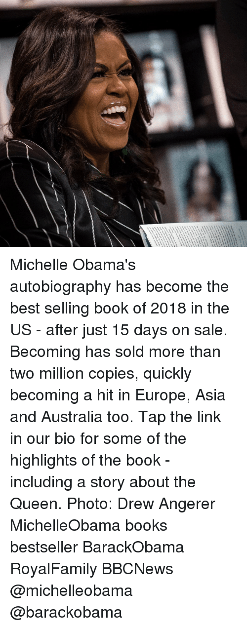 Autobiography: Michelle Obama's autobiography has become the best selling book of 2018 in the US - after just 15 days on sale. Becoming has sold more than two million copies, quickly becoming a hit in Europe, Asia and Australia too. Tap the link in our bio for some of the highlights of the book - including a story about the Queen. Photo: Drew Angerer MichelleObama books bestseller BarackObama RoyalFamily BBCNews @michelleobama @barackobama