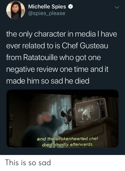 Ratatouille, Chef, and Time: Michelle Spies e  @spies_please  the only character in media l have  ever related to is Chef Gusteau  from Ratatouille who got one  negative review one time and it  made him so sad he died  and the brokenhearted chef  died shortly afterwards, This is so sad