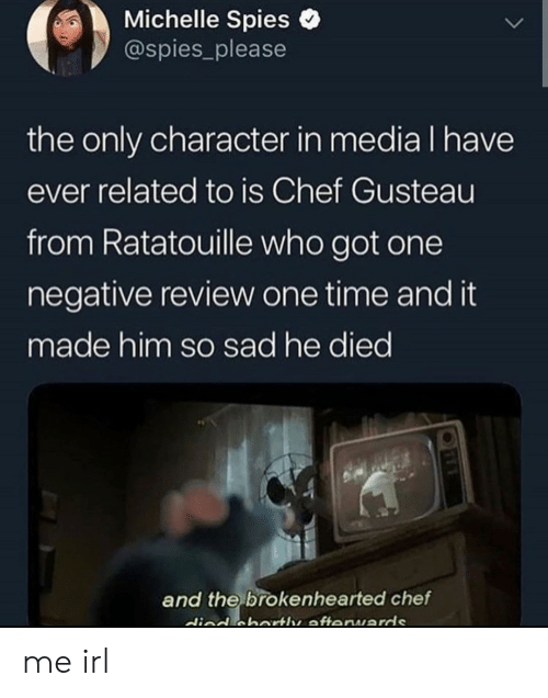 Got One: Michelle Spies  @spies_please  the only character in media I have  ever related to is Chef Gusteau  from Ratatouille who got one  negative review one time and it  made him so sad he died  and the brokenhearted chef  died cbartle afteruards me irl