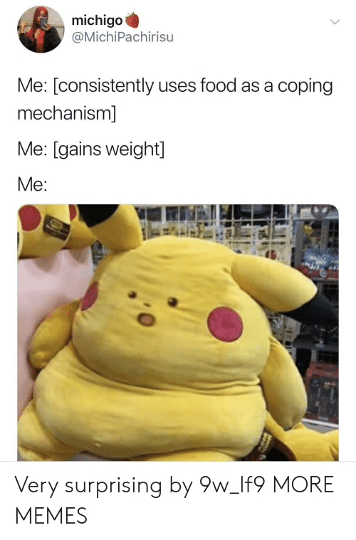 Dank, Food, and Memes: michigo  @MichiPachirisu  Me: [consistently uses food as a coping  mechanism]  Me: [gains weight]  Me Very surprising by 9w_lf9 MORE MEMES
