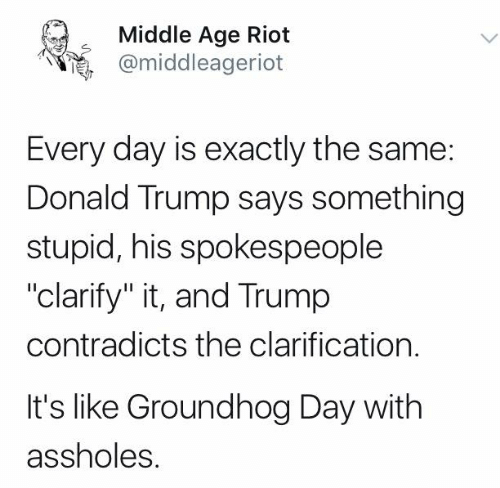 "Donald Trump, Memes, and Riot: Middle Age Riot  @middleageriot  Every day is exactly the same:  Donald Trump says something  stupid, his spokespeople  ""clarify"" it, and Trump  contradicts the clarification.  It's like Groundhog Day with  assholes."