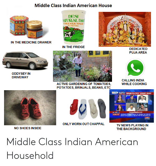 News, Politics, and Shoes: Middle Class Indian American House  DESI  NATORAL DAH  WOLE MILK YOGUR  ALLNATURAL  TIGER BALM  IN THE MEDICINE DRAWER  IN THE FRIDGE  DEDICATED  PUJA AREA  ODDYSEY IN  DRIVEWAY  CALLING INDIA  ACTIVE GARDENING OF TOMATOES,  POTATOES, BRINJALS, BEANS, ETC  WHILE COOKING  goibibo Neinoa  DEBATE INDIAN POLITICS' LOWEST POINT  timesofindia.com  KOUCERAN THASHEDN MAHASTATE ASSMLY FOR SONG Hs  DB.DO POLTICANEREALLY BEJEVE TEYARE ABOVETHE LAN  DEBATE  TIMES  NCW  ONLY WORN OUT CHAPPAL  TV NEWS PLAYING IN  NO SHOES INSIDE  THE BACKGROUND Middle Class Indian American Household