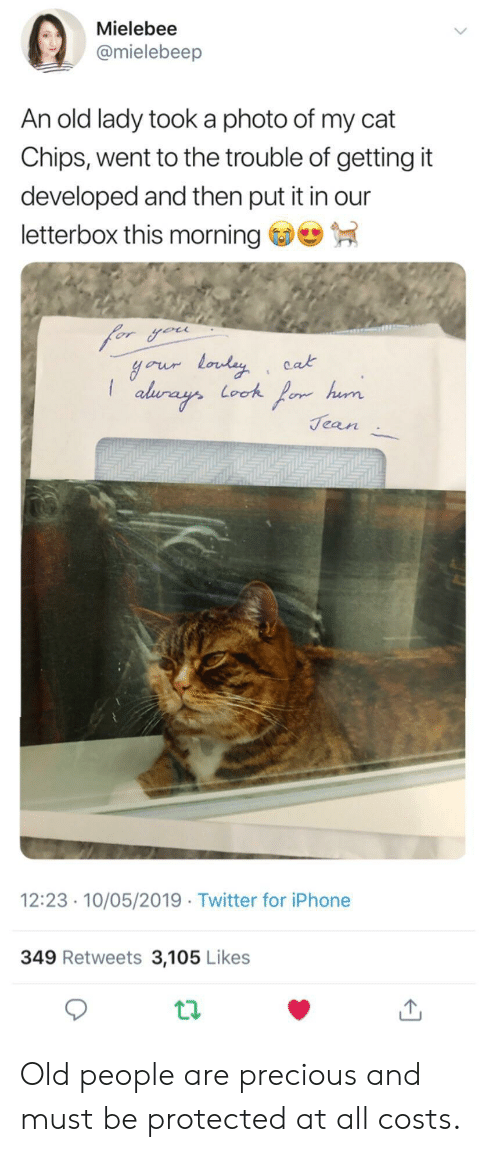 Iphone, Old People, and Precious: Mielebee  @mielebeep  An old lady took a photo of my cat  Chips, went to the trouble of getting it  developed and then put it in our  letterbox this morning  cak  Jean  12:23 10/05/2019 Twitter for iPhone  349 Retweets 3,105 Likes Old people are precious and must be protected at all costs.