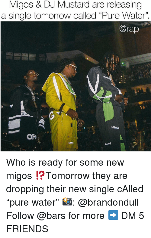 """DJ Mustard, Friends, and Memes: Migos & DJ Mustard are releasing  a single tomorrow called """"Pure Water"""".  @rap  HUNCH  OPF  CANG  CANG Who is ready for some new migos ⁉️Tomorrow they are dropping their new single cAlled """"pure water"""" 📸: @brandondull Follow @bars for more ➡️ DM 5 FRIENDS"""