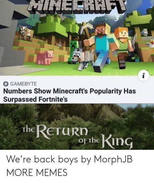 Dank, Memes, and Target: MIHERAE  i  GAMEBYTE  Numbers Show Minecraft's Popularity Has  Surpassed Fortnite's  the RETURN  OF the King We're back boys by MorphJB MORE MEMES