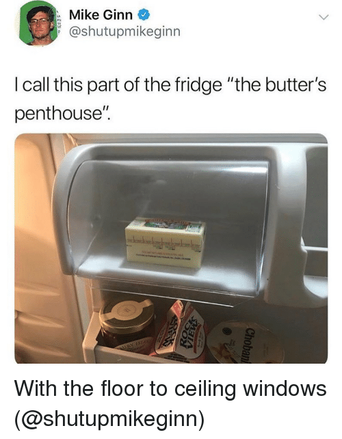 """butters: Mike Ginn  @shutupmikeginn  I call this part of the fridge """"the butter's  penthouse"""". With the floor to ceiling windows (@shutupmikeginn)"""