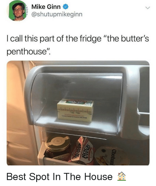 """butters: Mike Ginn  @shutupmikeginn  I call this part of the fridge """"the butter's  penthouse"""". Best Spot In The House 🏠"""