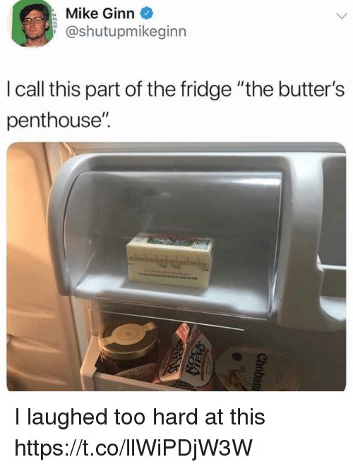 """butters: Mike Ginn  @shutupmikeginn  lcall this part of the fridge """"the butter's  penthouse'"""". I laughed too hard at this https://t.co/llWiPDjW3W"""