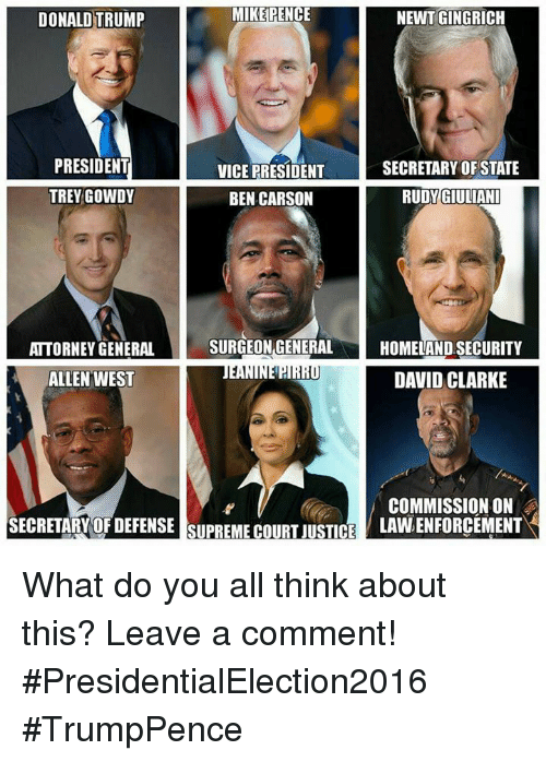 Ben Carson, Memes, and Homeland: MIKE PENCE  DONALD TRUMP  NEWT GINGRICH  PRESIDENT  VICE PRESIDENT  SECRETARY OF STATE  GIULIANI  TREY GOWDY  RUDY BEN CARSON  SURGEON GENERAL  HOMELAND SECURITY  ATTORNEY GENERAL  NEPIRIU DAVID CLARKE  ALLEN WEST  COMMISSION ON  SECRETARY OF DEFENSE SUPREMECOURUSTCE  LAWLENFORCEMENT What do you all think about this?   Leave a comment!  #PresidentialElection2016  #TrumpPence