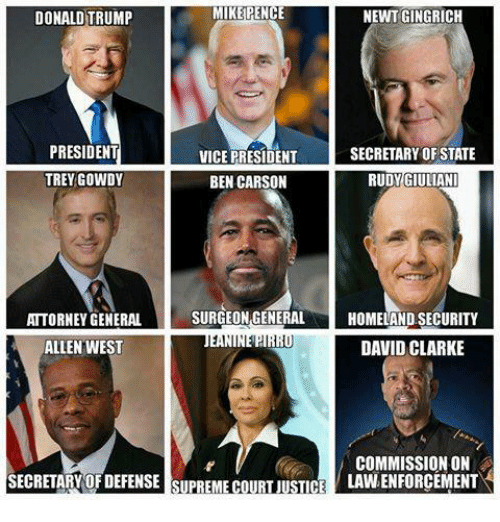 Ben Carson, Donald Trump, and Memes: MIKE PENCE  NEWT GINGRICH  DONALD TRUMP  PRESIDENT  SECRETARY OF STATE  VICE PRESIDENT  TREY GOWDY  BEN CARSON  RUDY GIULIANI  SURGEON GENERAL  HOMELAND SECURITY  ATTORNEY GENERAL  ALLEN WEST  DAVID CLARKE  COMMISSION ON  SECRETARY OF DEFENSE SUPREME COURT JUSTICE  LAVNENFORCEMENT