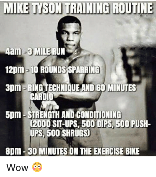 dips: MIKE TYSON TRAINING ROUTINE  4am-3 MILE RUN  12pm -10 ROUNDSSPARRING  3pm RING TECHNIQUE AND 60 MINUTES  CARDI  5pm STRENGTH AND CONDITIONING  C2000 SIT-UPS BOO DIPS 500 PUSH-  UPS, 500 SHRUGS  8pm 30 MINUTES ON THE EXERCISE BIKE Wow 😳