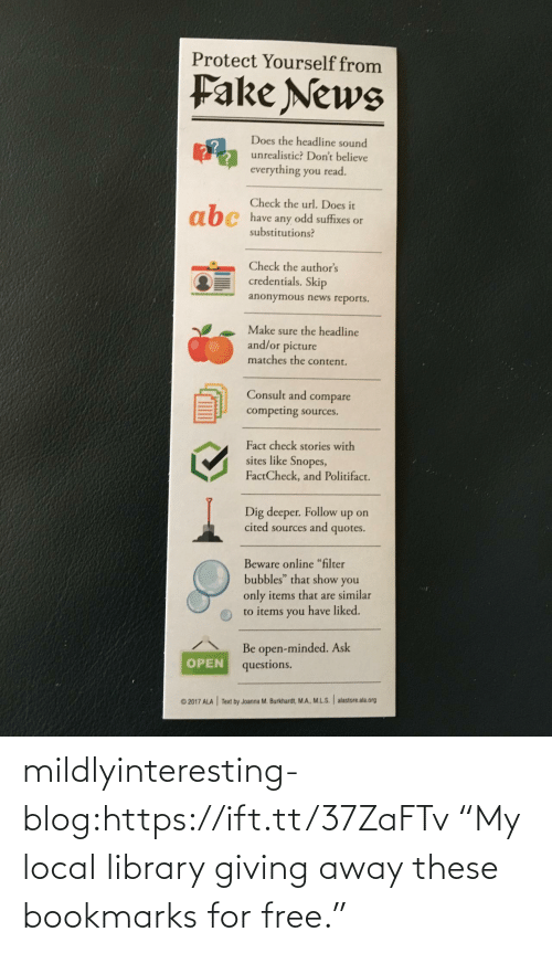 "For Free: mildlyinteresting-blog:https://ift.tt/37ZaFTv ""My local library giving away these bookmarks for free."""