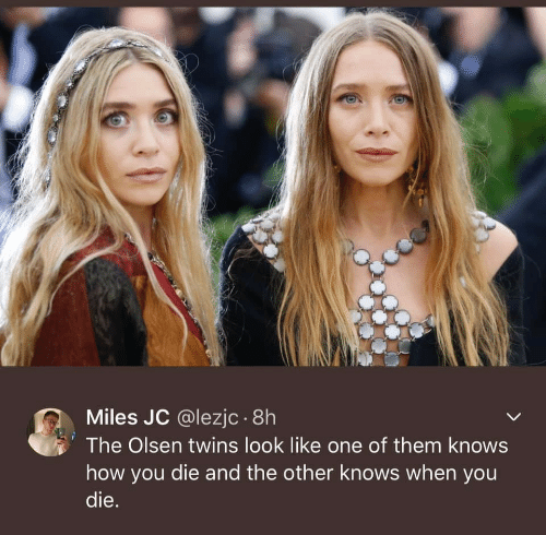 Twins, How, and Olsen Twins: Miles JC @lezjc .8h  The Olsen twins look like one of them knows  how you die and the other knows when you  die.