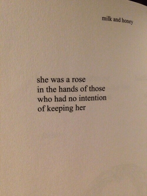 A Rose: milk and honey  she was a rose  in the hands of those  who had no intention  of keeping her