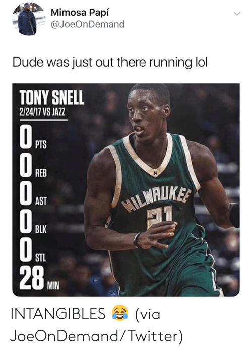 Dude, Lol, and Nba: Mimosa Papí  @JoeOnDemand  Dude was just out there running lol  TONY SNELL  2/24/17 VS JAZZ  PTS  O REB  MILMALIKE  AST  BLK  STL  28A  MIN INTANGIBLES 😂  (via JoeOnDemand/Twitter)