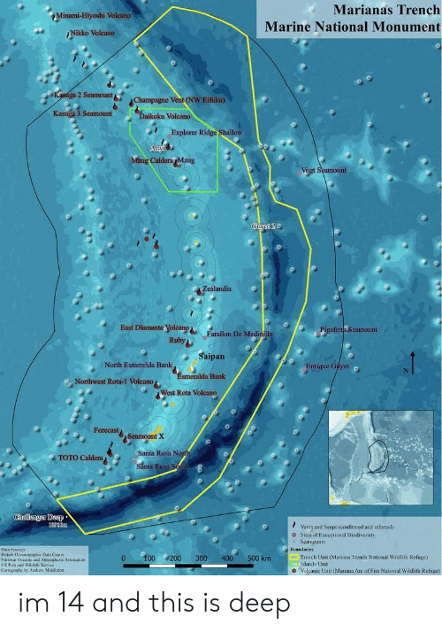 Fire, Bank, and Champagne: Minami-Hiyoshi Volcano  ?Nikko Volcano  Marianas Trench  Marine National Monument  2 Seamountb%  Champagne Vent (NW Eifku)  Kasuga 3 Seamount  koku Volcano  Explorer Ridge Shallow  Caldera Maug  Vo  unt  East Diamante yolcanoFarallon De Medin  fetta Seamount  Ruby  Saipan  North Esmerelda Bank  Enrique Gityot  a Bank  Northwest Rota-1 Volcano  West Rota Volcano  Forecast  2Seamount Χ  Santa Rosa N  TOTO Caldera)  Santa R  Chilisngur Deep  ? Vents and Seeps(confirmed and inferred)  Sites of Exceptional Biodiversity  Seamounts  Data SouToes  British Oceanogopic Data Centre  0 00200 300 400 500 km  Trench Unit (Mariana Trench National Wildlife Refuge)  Islands Unit  Volcanic Unit (Mariana Are of Fire National Wildlife Refuge)  LUS Fish and Wildlife Senice  Caatography by Andiew Middictoe im 14 and this is deep