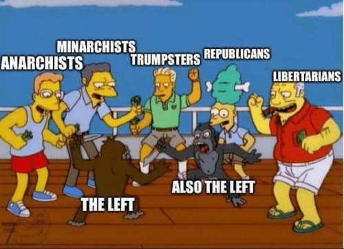 Republicans,  Left, and Libertarians: MINARCHISTS  TRUMPSTERS REPUBLICANS  ANARCHISTS  LIBERTARIANS  ALSO THE LEFT  THE LEFT