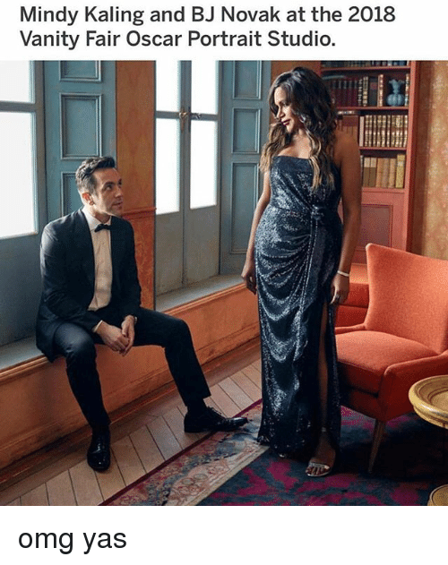 vanity fair: Mindy Kaling and BJ Novak at the 2018  Vanity Fair Oscar Portrait Studio. omg yas