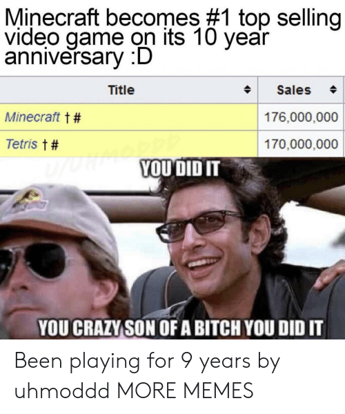 Bitch, Crazy, and Dank: Minecraft becomes #1 top selling  video game on its 10 year  anniversary :D  Title  Sales  Minecraft t #  176,000,000  Tetris t #  170,000,000  YOUDID IT  YOU CRAZY SON OFA BITCH YOU DID IT Been playing for 9 years by uhmoddd MORE MEMES