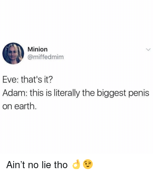 Minion: Minion  @miffedmim  Eve: that's it?  Adam: this is literally the biggest penis  on earth Ain't no lie tho 👌😉