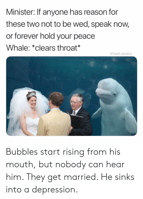 bubbles: Minister: If anyone has reason for  these two not to be wed, speak now,  or forever hold your peace  Whale: *clears throat*  @tank.sinatra Bubbles start rising from his mouth, but nobody can hear him. They get married. He sinks into a depression.