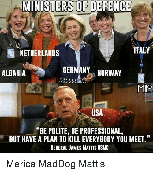 "Professionalism: MINISTERS OF DEFENCE  ITALY  NETHERLANDS  GERMANY  NORWAY  ALBANIA  MIO  USA  ANBE POLITE, BE PROFESSIONAL,  BUT HAVE A PLAN TO KILL EVERYBODY YOU MEET.""  GENERAL JAMES MATTIS USMC Merica MadDog Mattis"