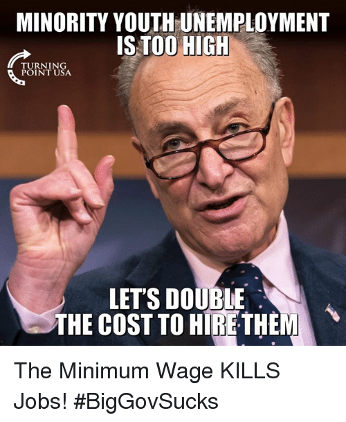Memes, Jobs, and Minimum Wage: MINORITY YOUTH UNEMPLOYMENT  IS TOO HIGH  TURNING  POINT USA  LETS DOUBLE  THE COST TO HIRETHEM The Minimum Wage KILLS Jobs! #BigGovSucks