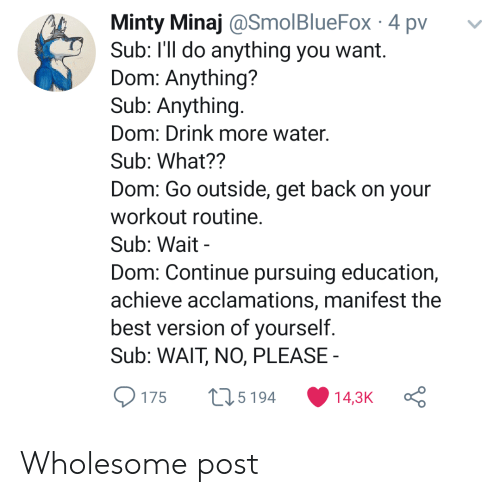 Best, Water, and Wholesome: Minty Minaj @SmolBlueFox 4 pv  Sub: I'll do anything you want.  Dom: Anything?  Sub: Anything.  Dom: Drink more water.  Sub: What??  Dom: Go outside, get back on your  workout routine.  Sub: Wait  Dom: Continue pursuing education,  achieve acclamations, manifest the  best version of yourself.  Sub: WAIT, NO, PLEASE  L15194  14,3K  175 Wholesome post