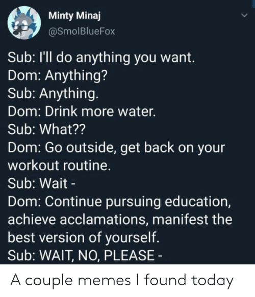 Memes, Best, and Today: Minty Minaj  @SmolBlueFox  Sub: I'll do anything you want.  Dom: Anything?  Sub: Anything.  Dom: Drink more water.  Sub: What??  Dom: Go outside, get back on your  workout routine.  Sub: Wait -  Dom: Continue pursuing education,  achieve acclamations, manifest the  best version of yourself.  Sub: WAIT, NO, PLEASE A couple memes I found today