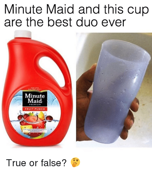Minute Maid, True, and Best: Minute Maid and this cup  are the best duo ever  Minute  Maid.  PREMIUM  FRUIT PUNCH True or false? 🤔