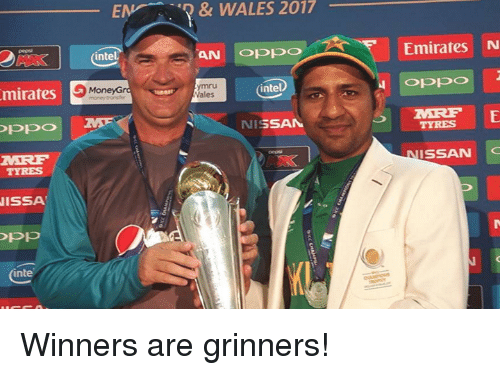 Intell: mirates  OPPO  TYRES  ISSA  OPP  inte  WALES & EM 2017  AN  OPPO  intel.  intel  9 MoneyG  Gra  Wales  SAM  NI  Emirates N  Oppo  MERE E  NISSAN  C Winners are grinners!