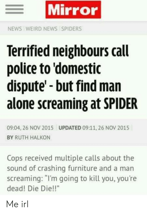 "Being Alone, News, and Police: Mirror  NEWS WEIRD NEWS SPIDERS  Terrified neighbours call  police to 'domestic  dispute'-but find man  alone screaming at SPIDER  09:04, 26 NOV 2015  UPDATED 09:11, 26 NOV 2015  BY RUTH HALKON  Cops received multiple calls about the  sound of crashing furniture and a man  screaming: ""I'm going to kill you, you're  dead! Die Die!!"" Me irl"