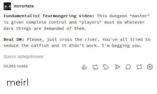 """Im Begging You: mirrorfalls  Fundamentalist fearmongering video: This dungeon """"master""""  is given complete control and """"players"""" must do whatever  dark things are demanded of them  Real DM: Please, just cross the river. You've all tried to  seduce the catfish and it didn't work. I'm begging you  Source autiegotmoves  34,893 notes meirl"""
