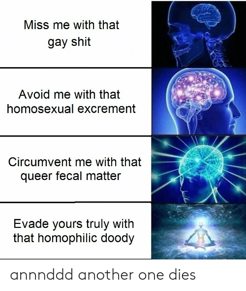 fecal matter: Miss me with that  gay shit  Avoid me with that  homosexual excrement  Circumvent me with that  queer fecal matter  Evade yours truly with  that homophilic doody annnddd another one dies
