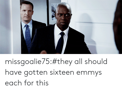 Sixteen: missgoalie75:#they all should have gotten sixteen emmys each for this