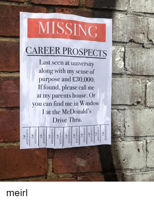 Seen At: MISSING  CAREER PROSPECTS  Last seen at university  along with my sense of  purpose and £30,000  If found, please call me  at my parents house. Or  you can find me in Window  1 at the McDonald's  Drive Thru meirl