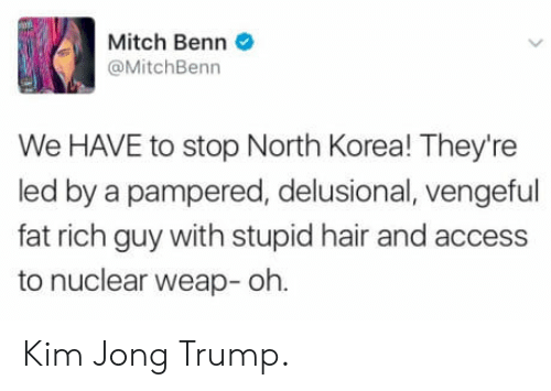 Pampered: Mitch Benn  @MitchBenn  We HAVE to stop North Korea! They're  led by a pampered, delusional, vengeful  fat rich guy with stupid hair and access  to nuclear weap- oh Kim Jong Trump.