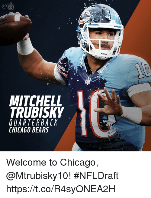 Chicago Bears: MITCHELL  TRUBISKY  UARTER BACK  CHICAGO BEARS  NFL  Riddell. Welcome to Chicago, @Mtrubisky10!  #NFLDraft https://t.co/R4syONEA2H