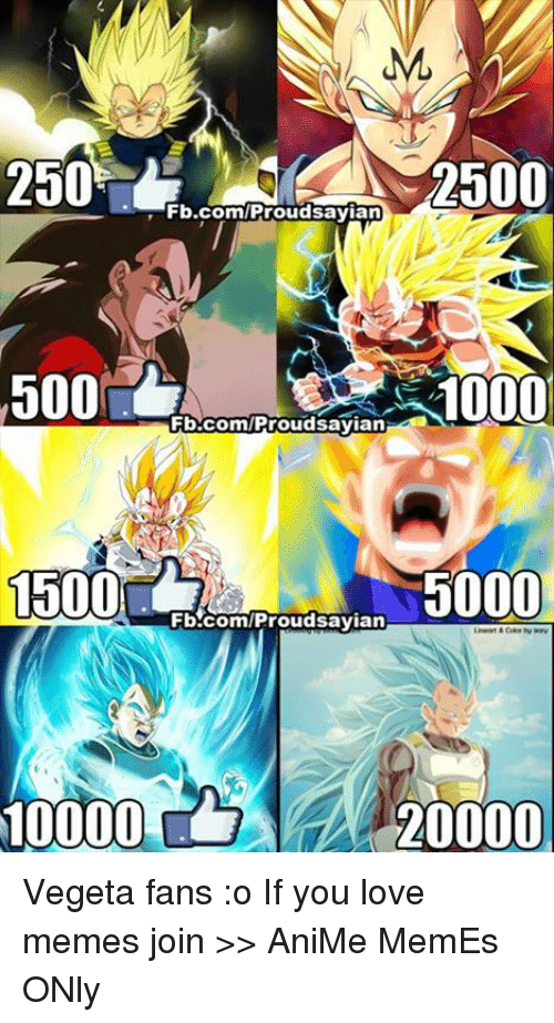 Animals Memes: ML  2500  2500  Fb.com/Proud sayian  500  10000  Fb.com/Proud sayian  1500  5000  Fb.com/Proud sayian  20000 Vegeta fans :o If you love memes join >> AniMe MemEs ONly