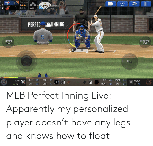 MLB: MLB Perfect Inning Live: Apparently my personalized player doesn't have any legs and knows how to float