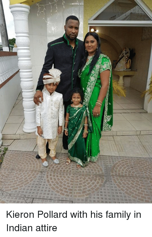mmr: mmr Kieron Pollard with his family in Indian attire