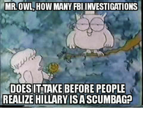 mmr: MMR, OWL HOW MANY FBI INVESTIGATIONS  DOES ITTAKE BEFORE PEOPLE  REALIZE HILLARY ISA SCUMBAG?